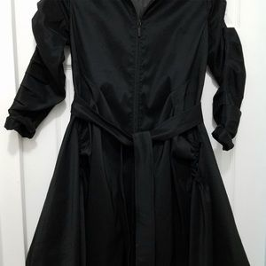 Samuel Dong Black Elegant Bubble Dress Jacket Coat